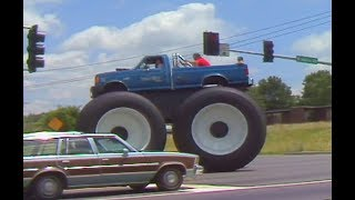 Driving through the streets in the world's biggest pickup BIGFOOT #5 - 1990 - BIGFOOT 4x4, Inc.