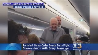 Former President Jimmy Carter Greets Airline Passengers