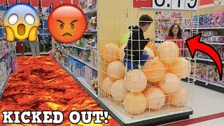 FLOOR IS LAVA CHALLENGE AT WALMART! (KICKED OUT)