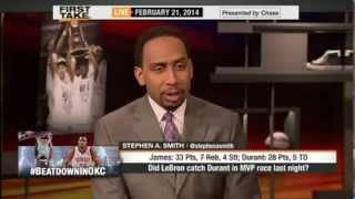 ESPN First Take : Skip: LeBron James Has Caught Kevin Durant in MVP Race (Video)