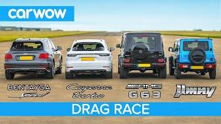 Bentayga Speed v AMG G63 v Cayenne Turbo v …Jimny?! - SUV DRAG RACE, ROLLING RACE & BRAKE TEST