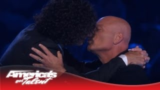 Howard Stern and Howie Mandel Kiss - America's Got Talent 2013