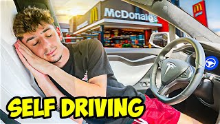 Letting My Tesla DECIDE What I EAT For 24 Hours! (SELF-DRIVE)