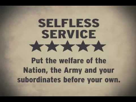army selfless service essay Selfless service: put the welfare of the nation, the army and your subordinates before your own.