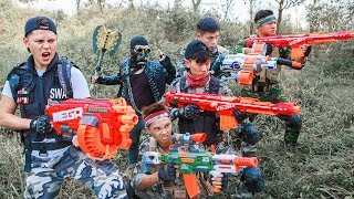 LTT Nerf War : Two Police SEAL X With Special Task Battle Criminal Group By Mega Nerf Guns
