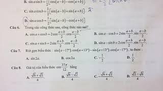 Trắc nghiệm áp dụng công thức lượng giác giải nhanh chương lượng giác lớp 10 - Thầy Vũ Đình  Phúc