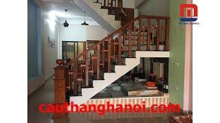 Cầu thang gỗ con tiện hình Ziczac thi công và lắp đặt tại Hà Nội