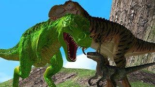 Mother Dinosaurs Save Baby Dino From Big Dinosaur 3D Wild Animals Cartoon Animation Short Movie