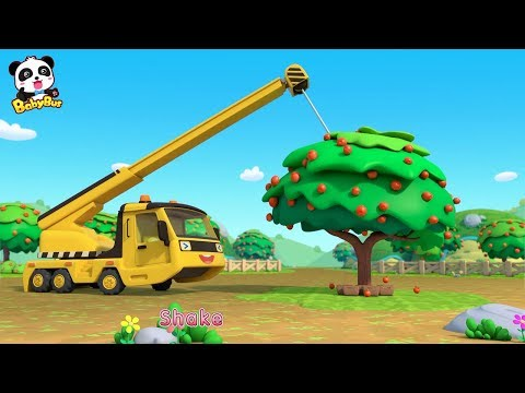 Toy Car Story: Waterwheel, Tractor, Crane | Baby Panda Plants Apple Trees | BabyBus