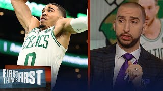 Nick and Cris react to the Celtics win against the 76ers in season debut | NBA | FIRST THINGS FIRST