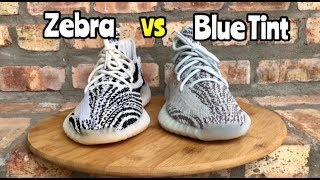 Yeezy 350 BOOST comparison Zebra vs Blue Tint
