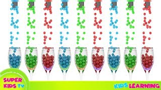 Learn colors with color balls in Glass ll Super Kids Tv - Kids Color Learning