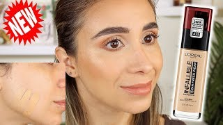 NEW L'oreal Fresh Wear Foundation! REVIEW, SWATCHES + 8 HR WEAR TEST!!!