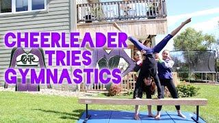 Cheerleader Tries Gymnastics