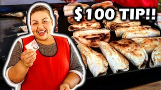 Tipping $100 To Nice Taco Lady In Mexico - ULTIMATE Mexican Street Food - Money From SUBSCRIBERS