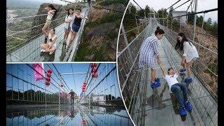 Tourists terrified of cracking glass bridge prank