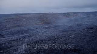 Aerial Over Steaming Lava Flow From Kilauea Volcano
