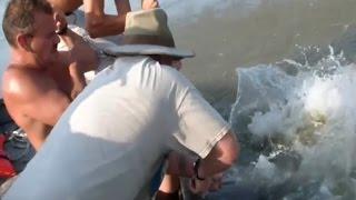 Đi câu vô tình bắt luôn cả gia đình cá da trơn khổng lồ
