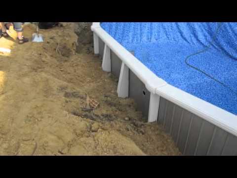 Semi Inground Swimming Pool Installation Youtube