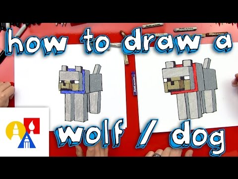 how to draw minecraft wolf step by step easy drawing for kids and