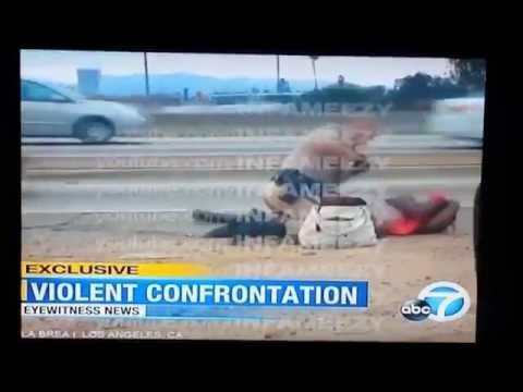 CHP POLICE BEATS WOMAN ON SIDE OF FREEWAY