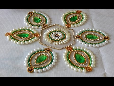 DIY Flower Kundan Rangoli How To Make Beautiful Rearrangeable Gorgeous Decorative Rangoli Designs With Stones And Kundans