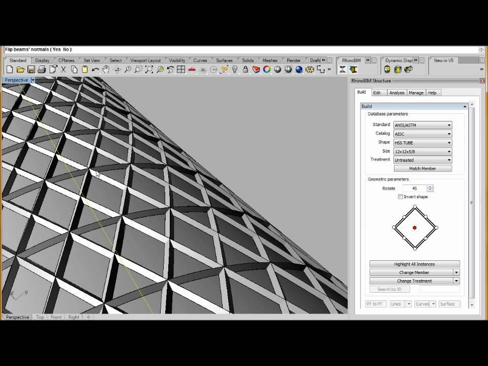 Rhinobim Structure Sweep Profile On Diagrid Youtube