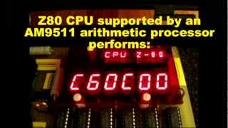 Homemade Z80 COMPUTER as a scientific calculator solving triangles with AM9511 coprocessor