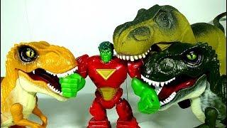 Batman Toy asked Marvel Hulk for help to defeat the Dinosaur Toys! #LotsMoreToys