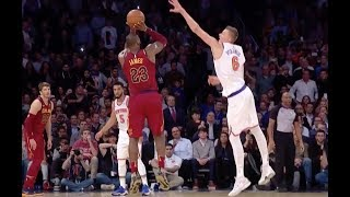 LeBron Drains Three-Pointer over Kristaps Porzingis in Cavs Win over Knicks