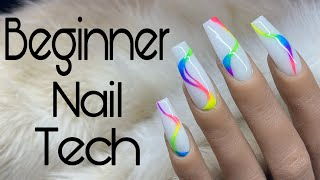 Beginner Nail Tech : Acrylic Application Tutorial | How To Use Pigments For Nail Art | Medium Length