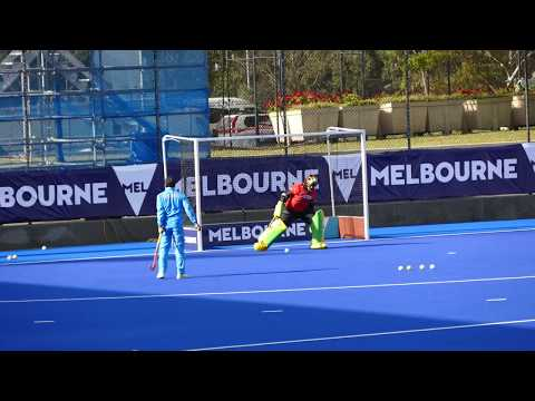 India goal keeper warm up. Melbourne IFOH 2016