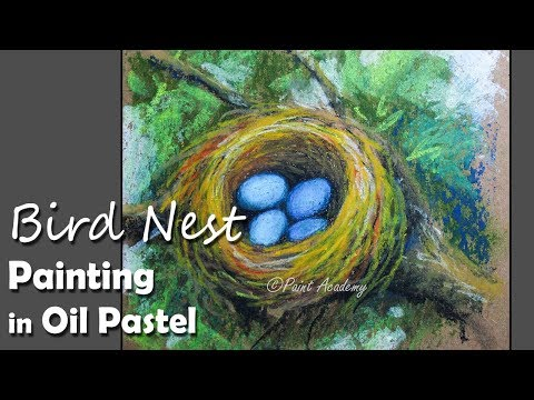 How to Paint Bird Nest with Eggs in Oil Pastel | step by step