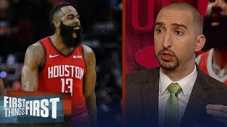 Nick Wright reacts to James Harden's 57-point night: 'It's unbelievable' | NBA | FIRST THINGS FIRST