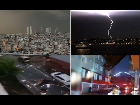 Meteoroloji Uyarmıştı! İstanbul'da Etkili Olan Fırtına Ve Doluda Çatılar Uçtu Ağaçlar Devrildi