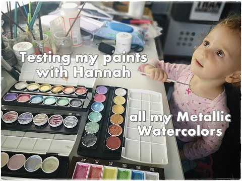 Testing with Hannah all my Metallic Watercolor Paints ♡ Maremi's Small Art ♡