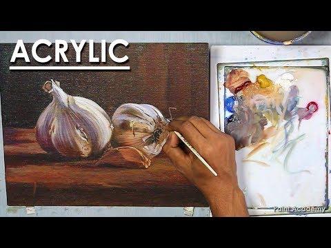 Garlic : Realistic Still life Painting in Acrylic