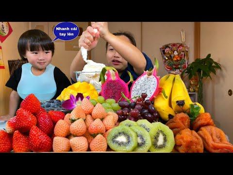 Mâm trái cây 11 loại chấm kem tươi ngon ngất ngây trên cành cây #864