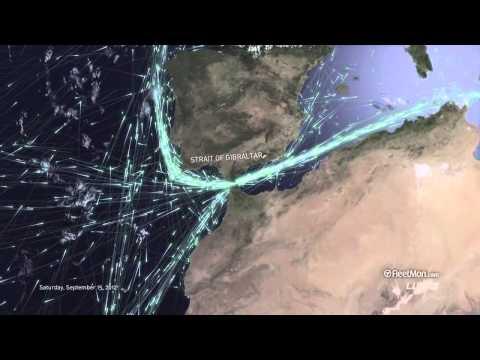 Lodní doprava viděna z vesmíru