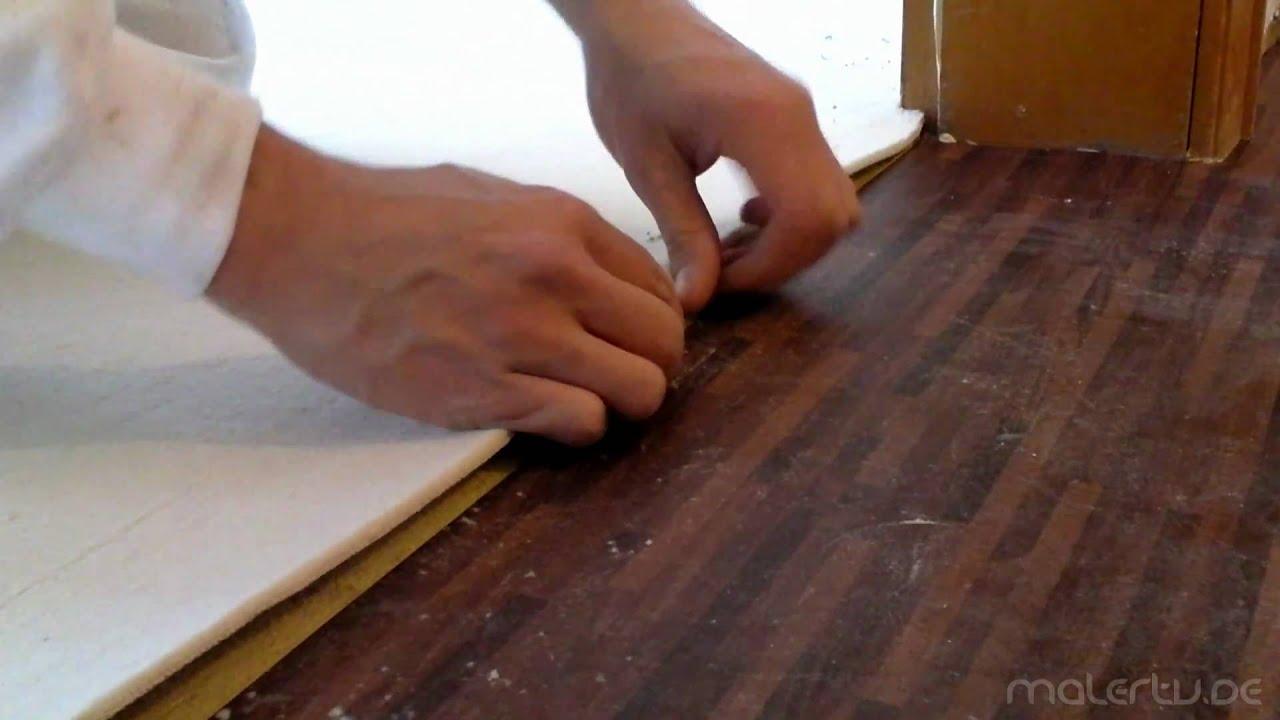teppich verlegen doppel nahtschnitt an der zimmert r zarge youtube. Black Bedroom Furniture Sets. Home Design Ideas