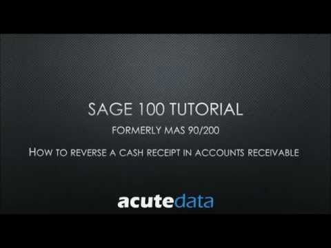 Sage 100 - How to Reverse A Cash Receipt