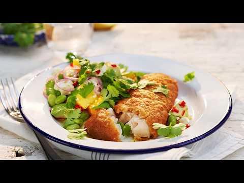 Fish & Crisp med en fruktig sommarsallad