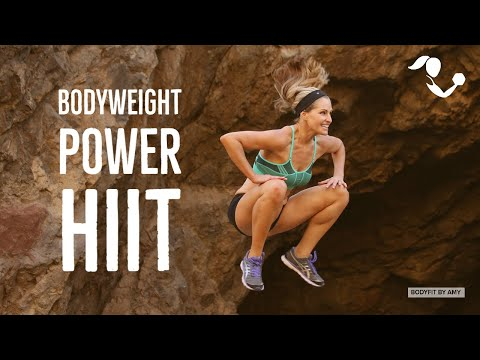 35 Minute Bodyweight Power HIIT Workout for Strength & Cardio:  At Home No Equipment Workout