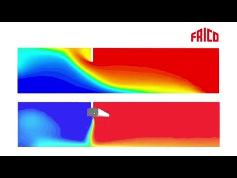 Animation of air flow with and without an aircurtain