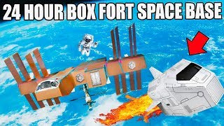 24 HOUR BOX FORT SPACE BASE CHALLENGE!! 📦🚀  Visiting A Planet, Box Fort Lander & More!