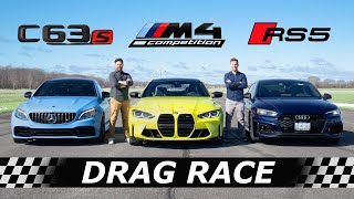 2021 BMW M4 Competition vs Audi RS5 vs Mercedes-AMG C63S  // DRAG & ROLL RACE