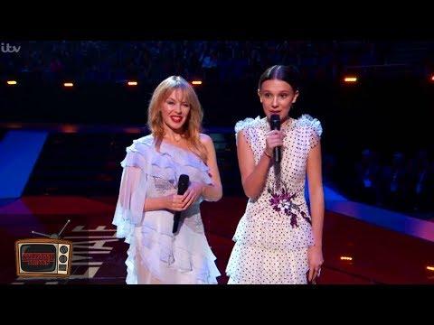 Millie Bobby Brown & Kylie Minogue Presents Award at the BRIT Awards to Dua Lipa