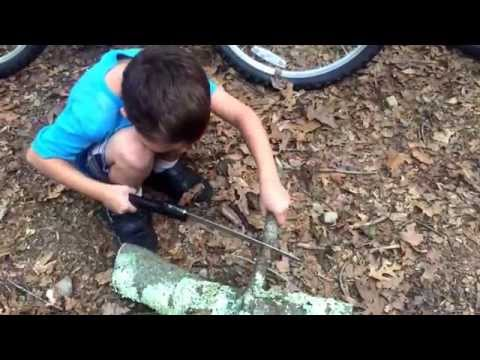 Joseph cutting through his first branch with a camping saw. Such a big boy!