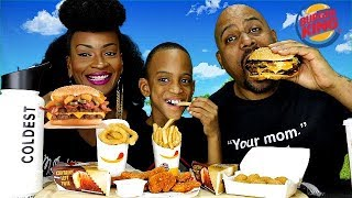 NEW BURGER KING ANGRY WHOPPER, CHEESY BACON TOTS, & TRIPLE STACKER KING MUKBANG!