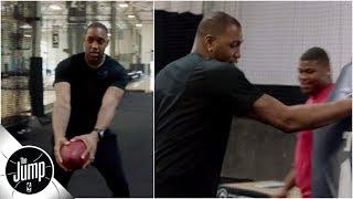 Tracy McGrady tries football drills with Dwayne Haskins at Mamba Sports Academy | The Jump: OT